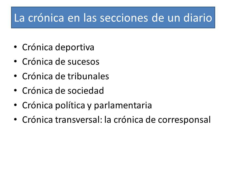 La crónica en las secciones de un diario Crónica deportiva Crónica de sucesos Crónica de tribunales Crónica de sociedad Crónica política y parlamentar