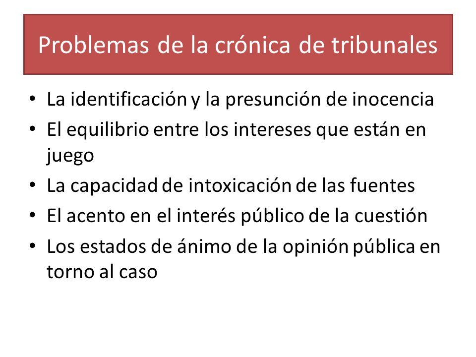 Problemas de la crónica de tribunales La identificación y la presunción de inocencia El equilibrio entre los intereses que están en juego La capacidad