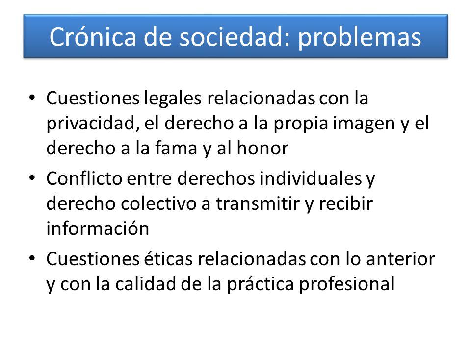 Crónica de sociedad: problemas Cuestiones legales relacionadas con la privacidad, el derecho a la propia imagen y el derecho a la fama y al honor Conf