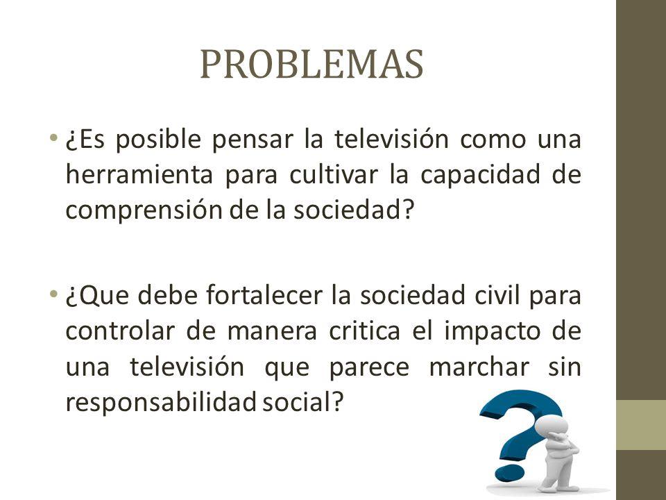 PROBLEMAS ¿Es posible pensar la televisión como una herramienta para cultivar la capacidad de comprensión de la sociedad.