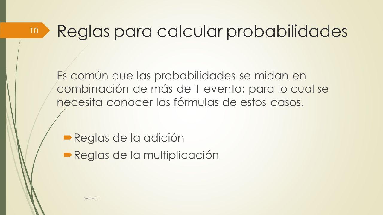 Reglas para calcular probabilidades Es común que las probabilidades se midan en combinación de más de 1 evento; para lo cual se necesita conocer las fórmulas de estos casos.
