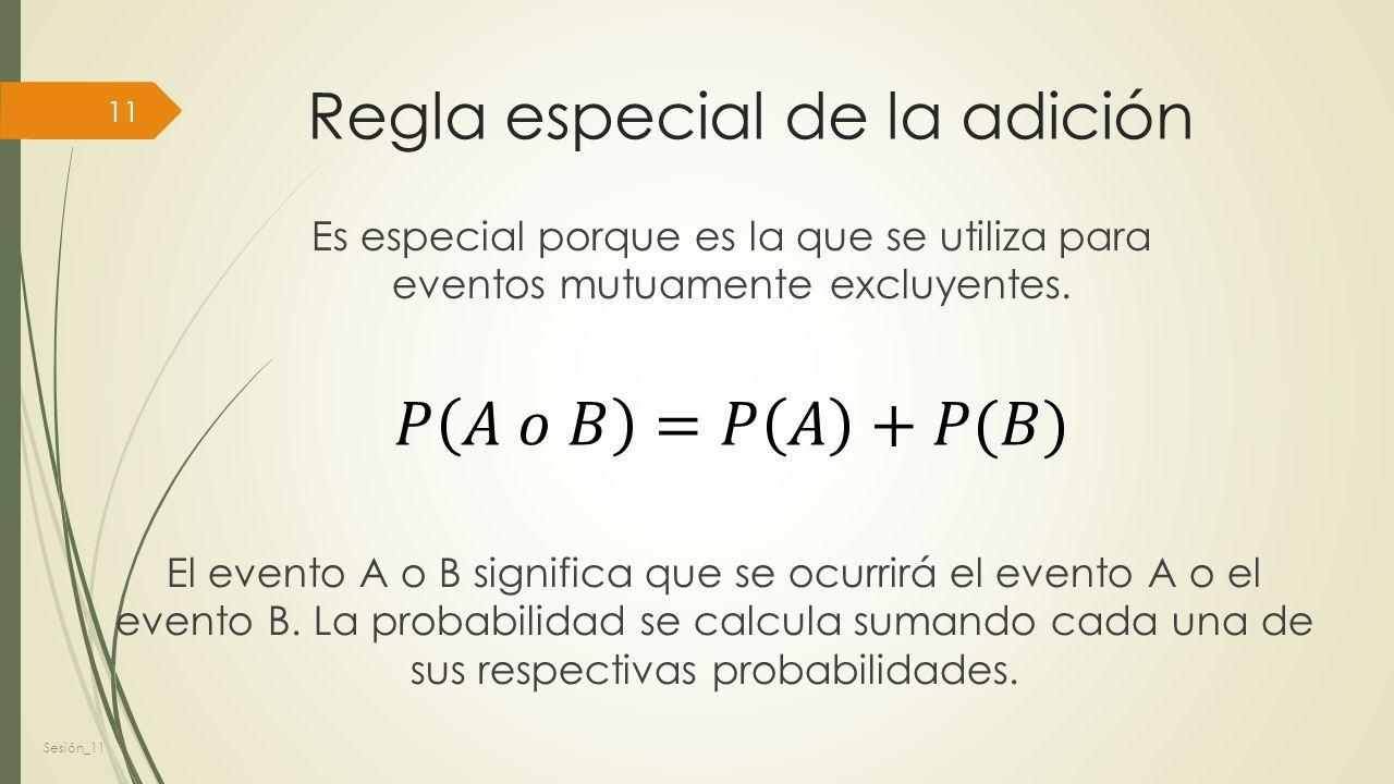 Regla especial de la adición Es especial porque es la que se utiliza para eventos mutuamente excluyentes.