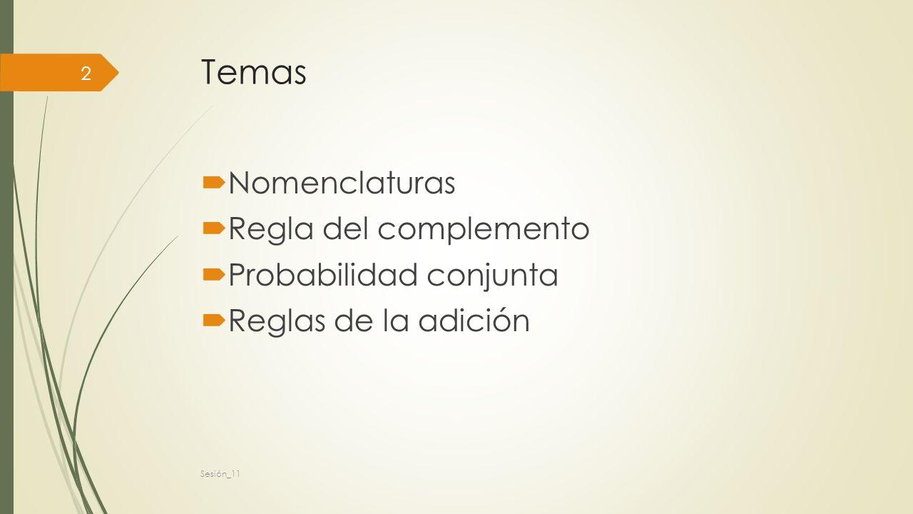Temas Nomenclaturas Regla del complemento Probabilidad conjunta Reglas de la adición Sesión_11 2