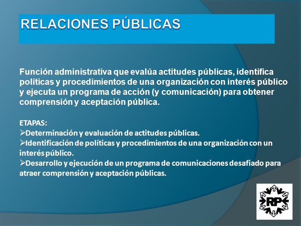 Función administrativa que evalúa actitudes públicas, identifica políticas y procedimientos de una organización con interés público y ejecuta un progr