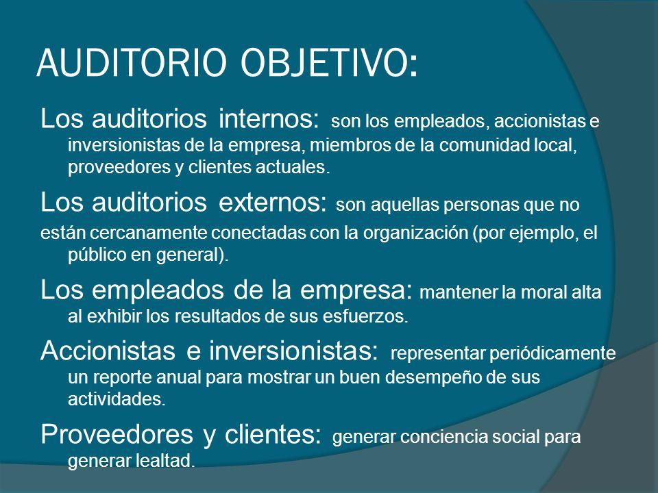 AUDITORIO OBJETIVO: Los auditorios internos: son los empleados, accionistas e inversionistas de la empresa, miembros de la comunidad local, proveedore