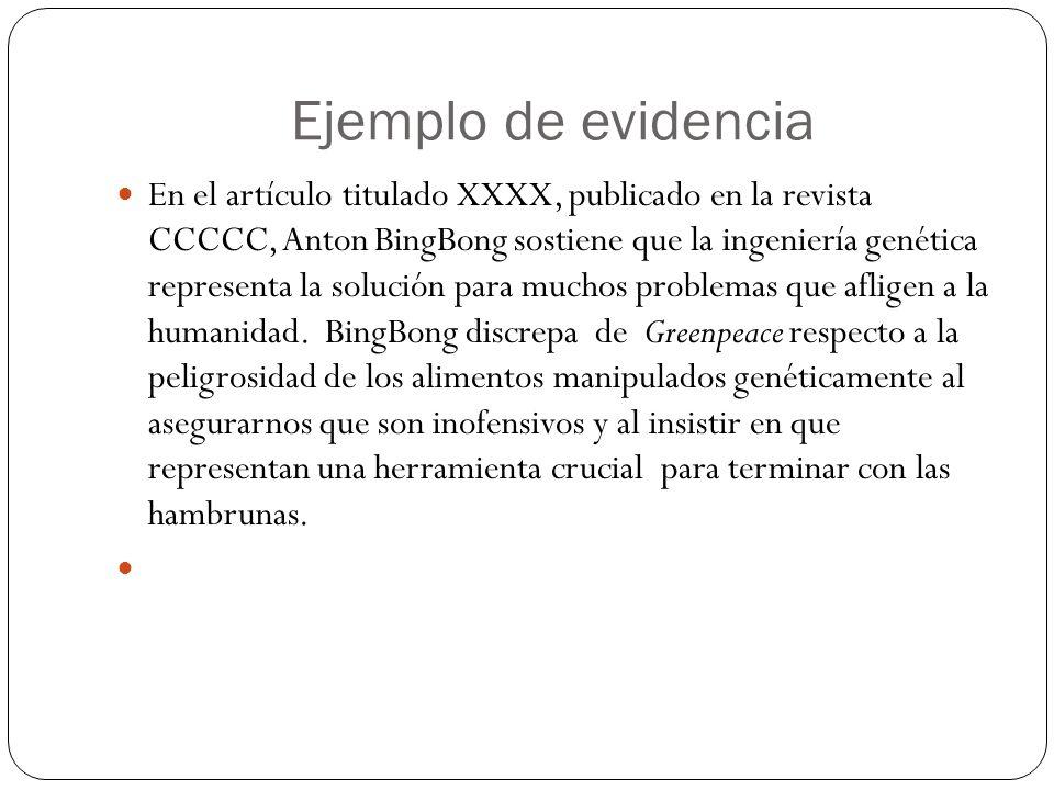 Ejemplo de evidencia En el artículo titulado XXXX, publicado en la revista CCCCC, Anton BingBong sostiene que la ingeniería genética representa la sol