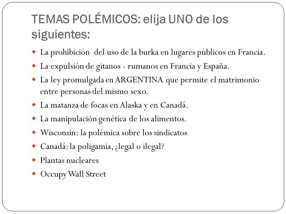 TEMAS POLÉMICOS: elija UNO de los siguientes: La prohibición del uso de la burka en lugares públicos en Francia. La expulsión de gitanos - rumanos en