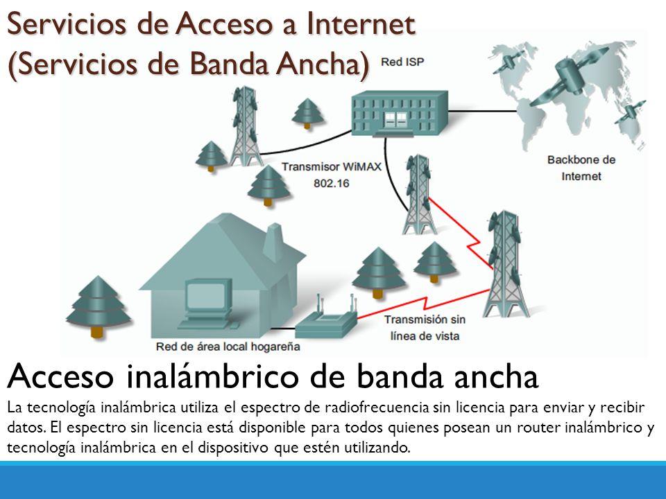 Servicios de Acceso a Internet (Servicios de Banda Ancha) Acceso inalámbrico de banda ancha La tecnología inalámbrica utiliza el espectro de radiofrec