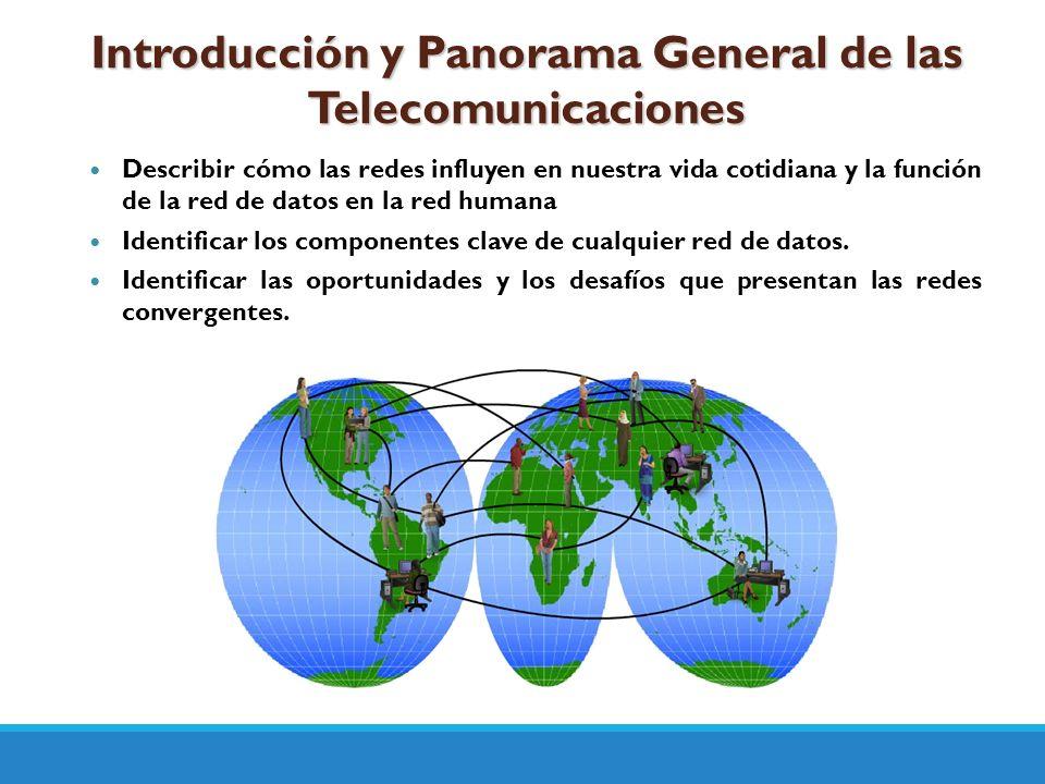Introducción y Panorama General de las Telecomunicaciones Describir cómo las redes influyen en nuestra vida cotidiana y la función de la red de datos