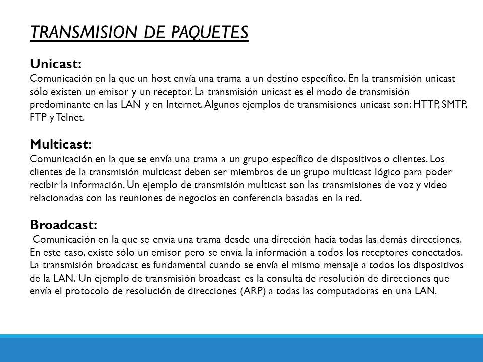 TRANSMISION DE PAQUETES Unicast: Comunicación en la que un host envía una trama a un destino específico. En la transmisión unicast sólo existen un emi
