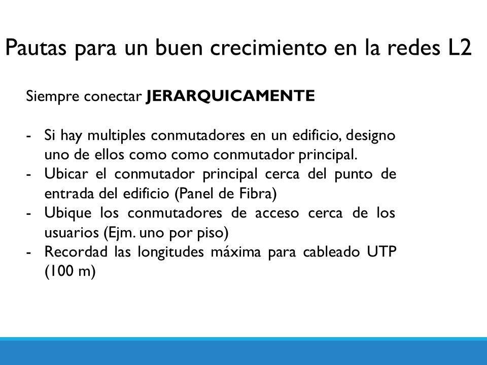 Pautas para un buen crecimiento en la redes L2 Siempre conectar JERARQUICAMENTE -Si hay multiples conmutadores en un edificio, designo uno de ellos co