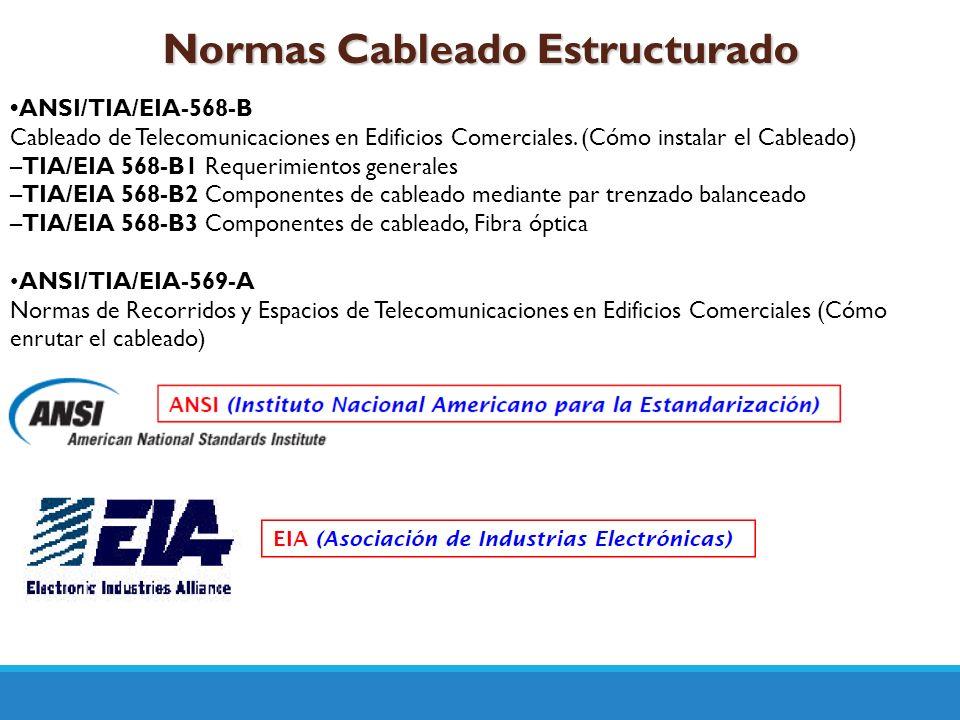 Normas Cableado Estructurado ANSI/TIA/EIA-568-B Cableado de Telecomunicaciones en Edificios Comerciales. (Cómo instalar el Cableado) –TIA/EIA 568-B1 R