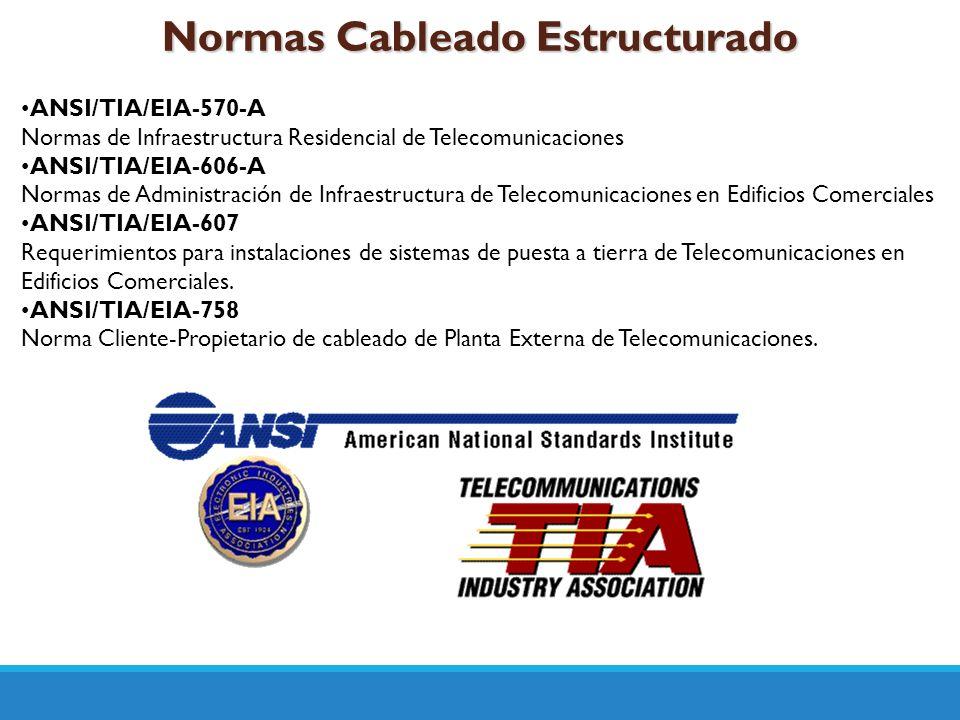 Normas Cableado Estructurado ANSI/TIA/EIA-570-A Normas de Infraestructura Residencial de Telecomunicaciones ANSI/TIA/EIA-606-A Normas de Administració