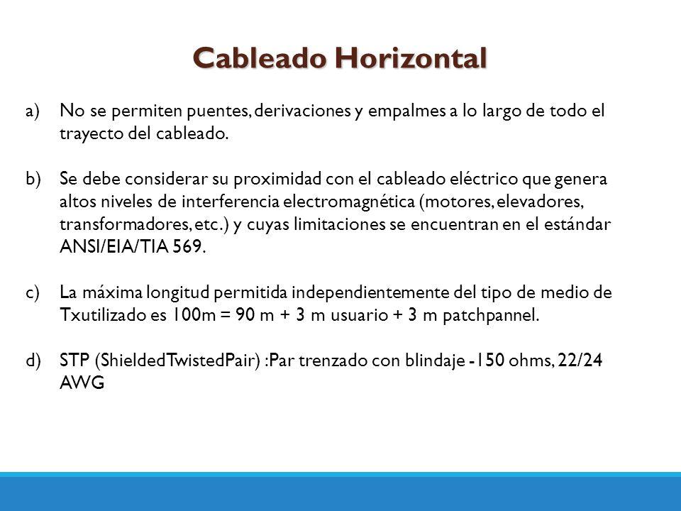 Cableado Horizontal a)No se permiten puentes, derivaciones y empalmes a lo largo de todo el trayecto del cableado. b)Se debe considerar su proximidad