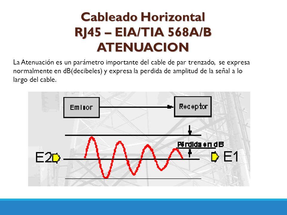 Cableado Horizontal RJ45 – EIA/TIA 568A/B ATENUACION La Atenuación es un parámetro importante del cable de par trenzado, se expresa normalmente en dB(