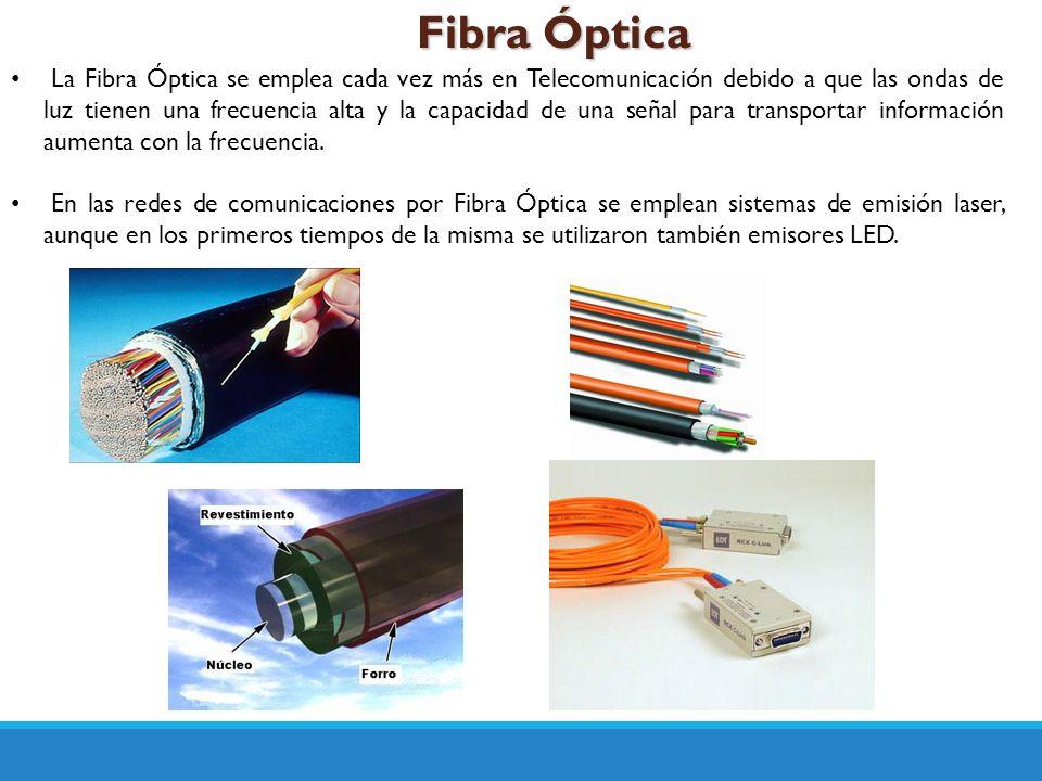 Fibra Óptica La Fibra Óptica se emplea cada vez más en Telecomunicación debido a que las ondas de luz tienen una frecuencia alta y la capacidad de una