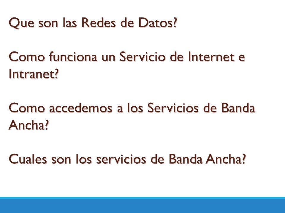 Que son las Redes de Datos? Como funciona un Servicio de Internet e Intranet? Como accedemos a los Servicios de Banda Ancha? Cuales son los servicios