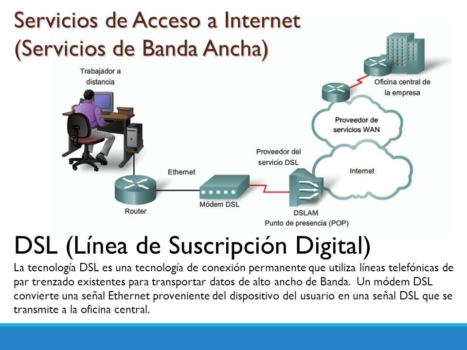 Servicios de Acceso a Internet (Servicios de Banda Ancha) DSL (Línea de Suscripción Digital) La tecnología DSL es una tecnología de conexión permanent