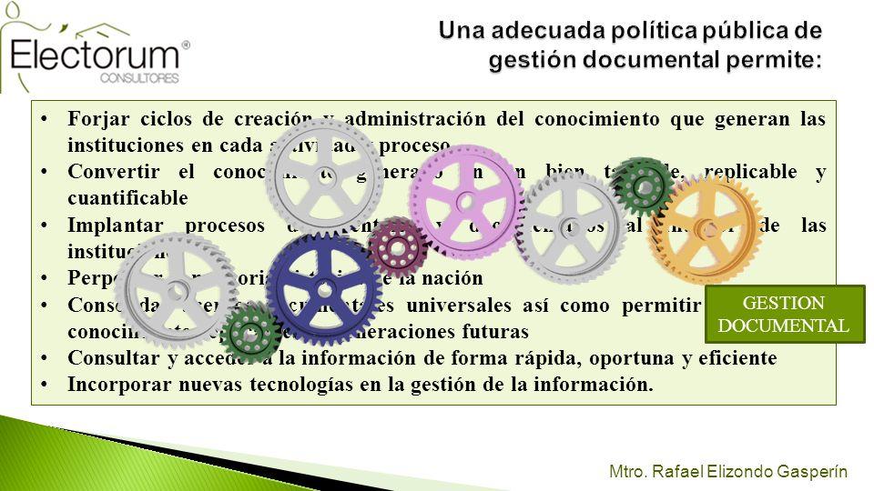 Mtro. Rafael Elizondo Gasperín Forjar ciclos de creación y administración del conocimiento que generan las instituciones en cada actividad y proceso C