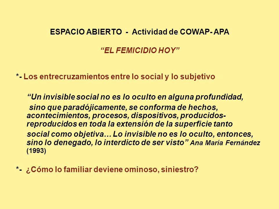 ESPACIO ABIERTO - Actividad de COWAP- APA EL FEMICIDIO HOY *- Los entrecruzamientos entre lo social y lo subjetivo Un invisible social no es lo oculto en alguna profundidad, sino que paradójicamente, se conforma de hechos, acontecimientos, procesos, dispositivos, producidos- reproducidos en toda la extensión de la superficie tanto social como objetiva… Lo invisible no es lo oculto, entonces, sino lo denegado, lo interdicto de ser visto Ana María Fernández (1993) *- ¿Cómo lo familiar deviene ominoso, siniestro