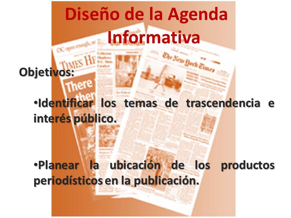 Diseño de la Agenda InformativaObjetivos: Identificar los temas de trascendencia e interés público.