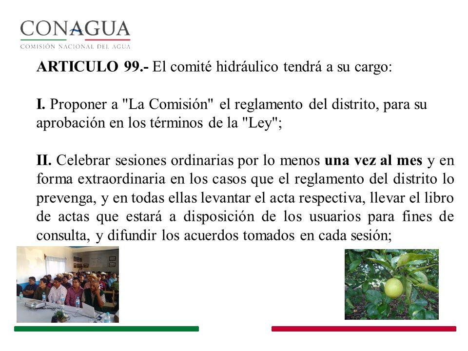 ARTICULO 99.- El comité hidráulico tendrá a su cargo: I. Proponer a