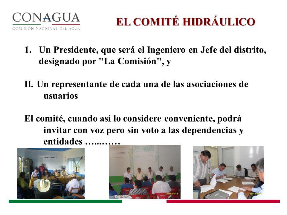 EL COMITÉ HIDRÁULICO 1.Un Presidente, que será el Ingeniero en Jefe del distrito, designado por