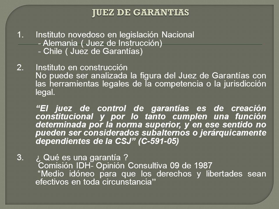 1. Instituto novedoso en legislación Nacional - Alemania ( Juez de Instrucción) - Chile ( Juez de Garantías) 2. Instituto en construcción No puede ser
