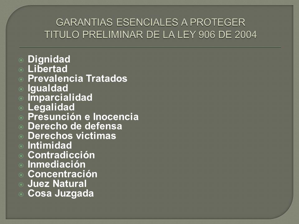 Dignidad Libertad Prevalencia Tratados Igualdad Imparcialidad Legalidad Presunción e Inocencia Derecho de defensa Derechos victimas Intimidad Contradi