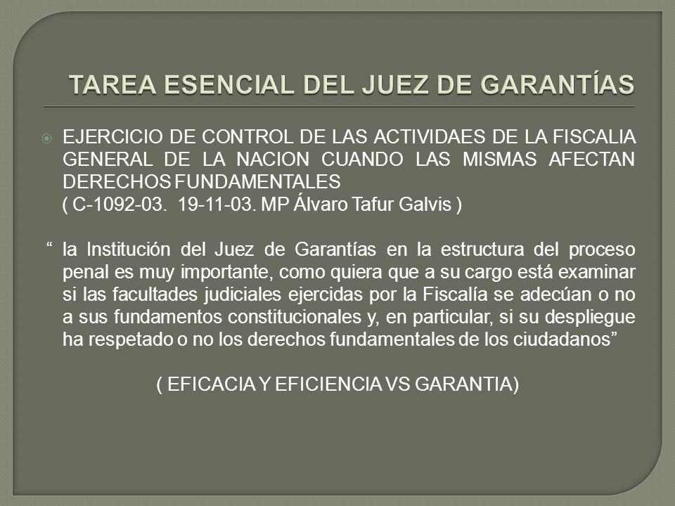 EJERCICIO DE CONTROL DE LAS ACTIVIDAES DE LA FISCALIA GENERAL DE LA NACION CUANDO LAS MISMAS AFECTAN DERECHOS FUNDAMENTALES ( C-1092-03. 19-11-03. MP