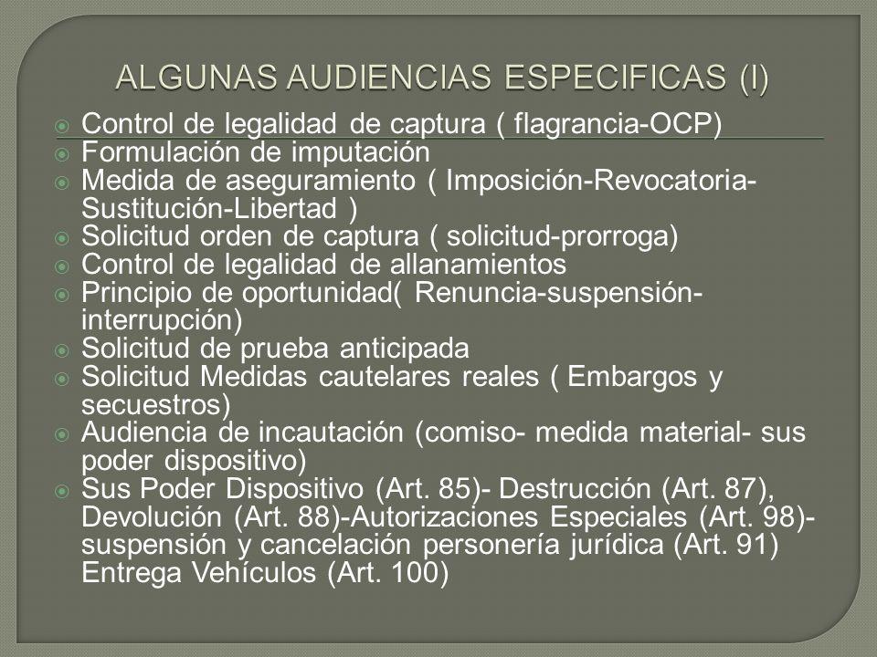 Control de legalidad de captura ( flagrancia-OCP) Formulación de imputación Medida de aseguramiento ( Imposición-Revocatoria- Sustitución-Libertad ) S
