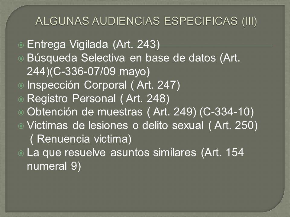 Entrega Vigilada (Art. 243) Búsqueda Selectiva en base de datos (Art. 244)(C-336-07/09 mayo) Inspección Corporal ( Art. 247) Registro Personal ( Art.