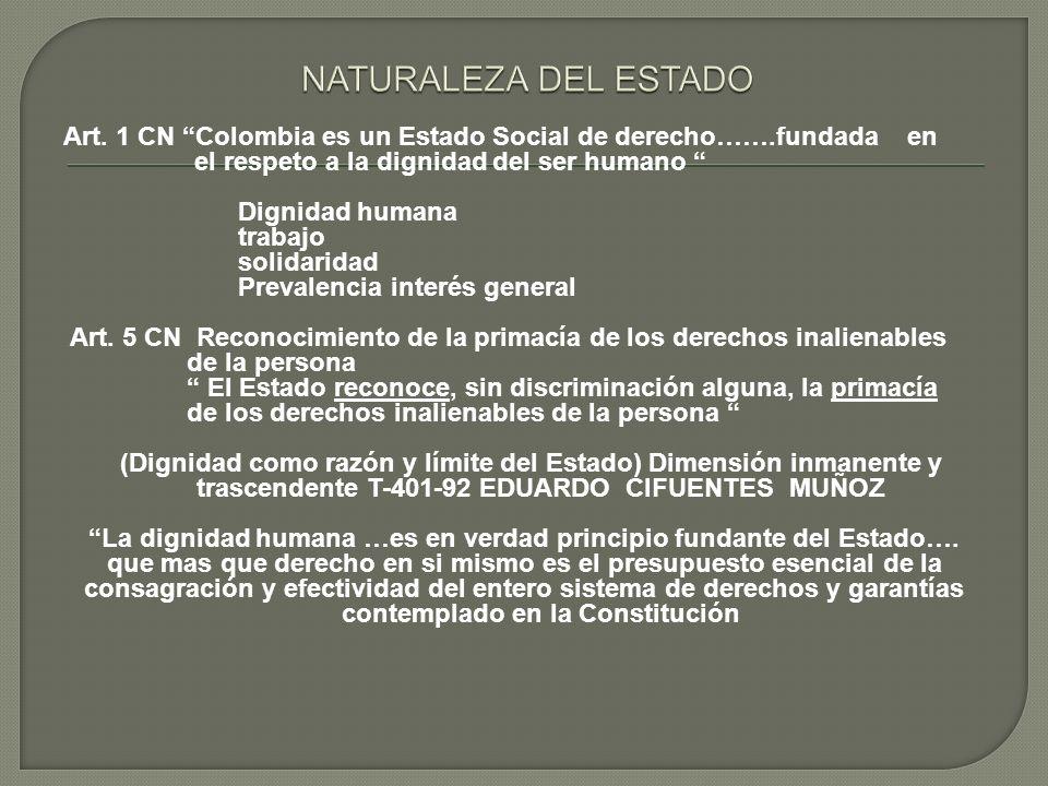 Art. 1 CN Colombia es un Estado Social de derecho…….fundada en el respeto a la dignidad del ser humano Dignidad humana trabajo solidaridad Prevalencia