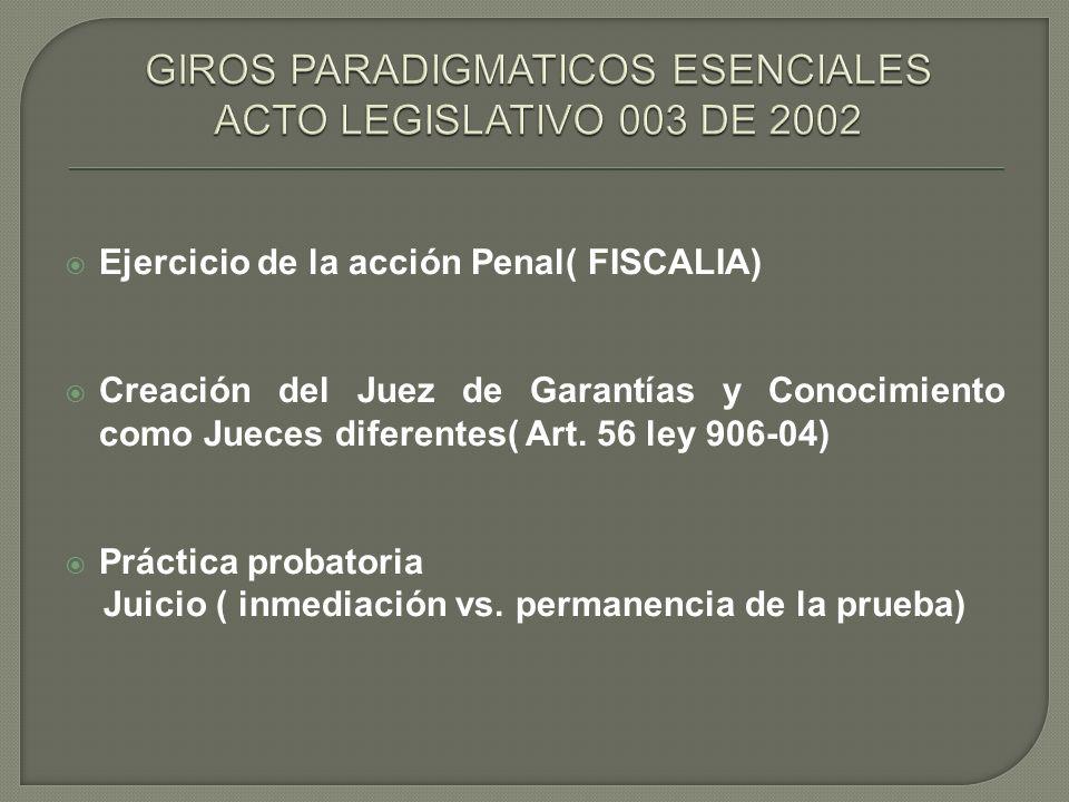 Ejercicio de la acción Penal( FISCALIA) Creación del Juez de Garantías y Conocimiento como Jueces diferentes( Art. 56 ley 906-04) Práctica probatoria