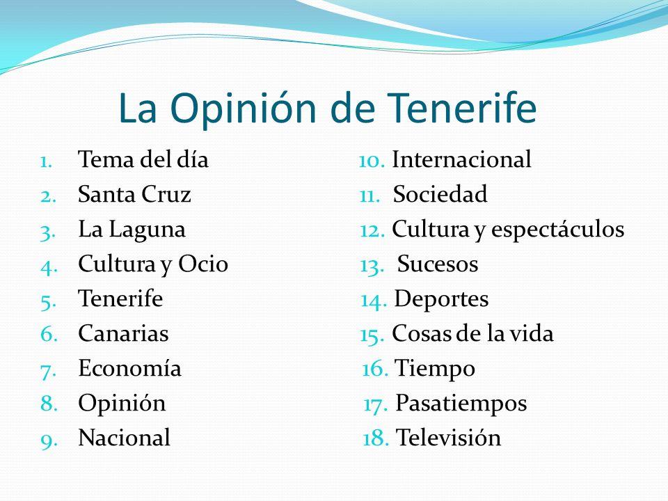 La Opinión de Tenerife 1. Tema del día 10. Internacional 2.