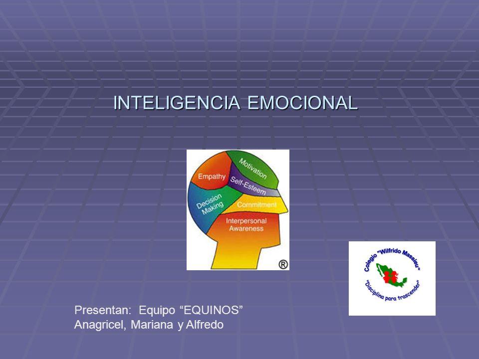 INTELIGENCIA EMOCIONAL Presentan: Equipo EQUINOS Anagricel, Mariana y Alfredo