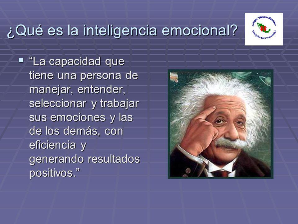¿Qué es la inteligencia emocional? La capacidad que tiene una persona de manejar, entender, seleccionar y trabajar sus emociones y las de los demás, c