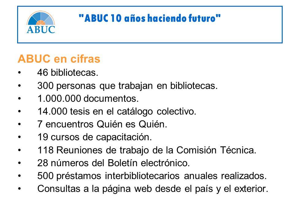 ABUC en cifras 46 bibliotecas. 300 personas que trabajan en bibliotecas.