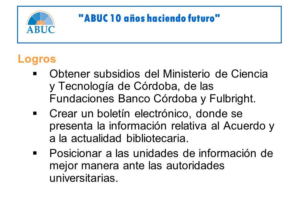 Logros Obtener subsidios del Ministerio de Ciencia y Tecnología de Córdoba, de las Fundaciones Banco Córdoba y Fulbright.