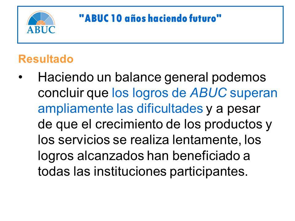 Resultado Haciendo un balance general podemos concluir que los logros de ABUC superan ampliamente las dificultades y a pesar de que el crecimiento de los productos y los servicios se realiza lentamente, los logros alcanzados han beneficiado a todas las instituciones participantes.