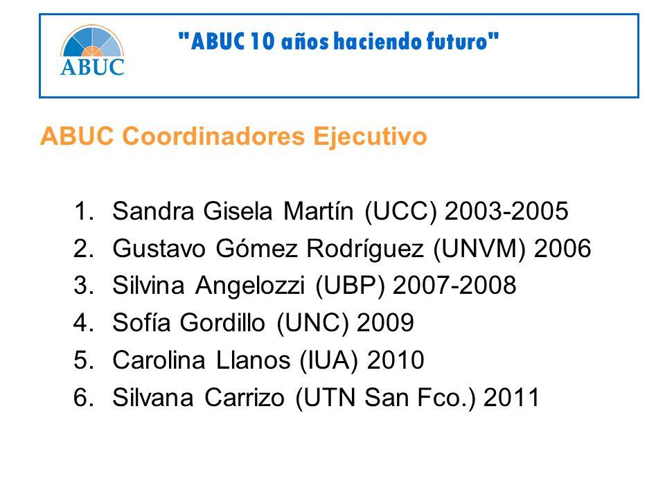 ABUC Coordinadores Ejecutivo 1.Sandra Gisela Martín (UCC) 2003-2005 2.Gustavo Gómez Rodríguez (UNVM) 2006 3.Silvina Angelozzi (UBP) 2007-2008 4.Sofía Gordillo (UNC) 2009 5.Carolina Llanos (IUA) 2010 6.Silvana Carrizo (UTN San Fco.) 2011 ABUC 10 años haciendo futuro