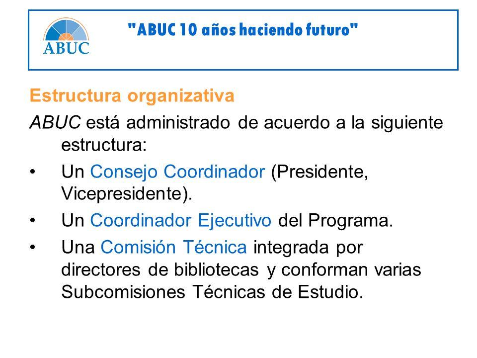 Estructura organizativa ABUC está administrado de acuerdo a la siguiente estructura: Un Consejo Coordinador (Presidente, Vicepresidente).