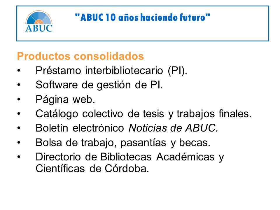 Productos consolidados Préstamo interbibliotecario (PI).