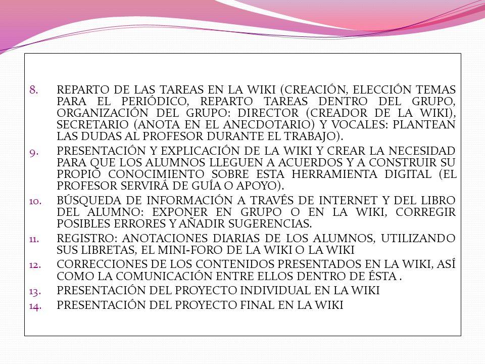 8. REPARTO DE LAS TAREAS EN LA WIKI (CREACIÓN, ELECCIÓN TEMAS PARA EL PERIÓDICO, REPARTO TAREAS DENTRO DEL GRUPO, ORGANIZACIÓN DEL GRUPO: DIRECTOR (CR