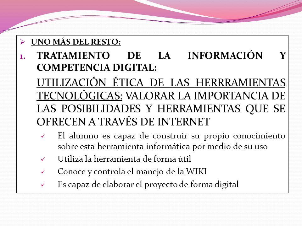 UNO MÁS DEL RESTO: 1. TRATAMIENTO DE LA INFORMACIÓN Y COMPETENCIA DIGITAL: UTILIZACIÓN ÉTICA DE LAS HERRRAMIENTAS TECNOLÓGICAS: VALORAR LA IMPORTANCIA