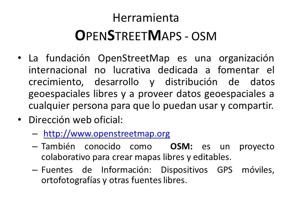 Herramienta O PEN S TREET M APS - OSM La fundación OpenStreetMap es una organización internacional no lucrativa dedicada a fomentar el crecimiento, de
