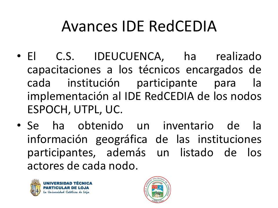 Avances IDE RedCEDIA El C.S. IDEUCUENCA, ha realizado capacitaciones a los técnicos encargados de cada institución participante para la implementación