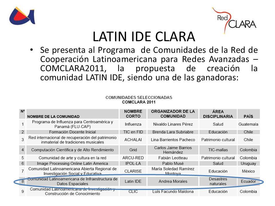 LATIN IDE CLARA Se presenta al Programa de Comunidades de la Red de Cooperación Latinoamericana para Redes Avanzadas – COMCLARA2011, la propuesta de c