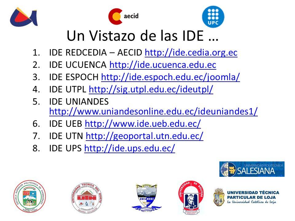 Un Vistazo de las IDE … 1.IDE REDCEDIA – AECID http://ide.cedia.org.echttp://ide.cedia.org.ec 2.IDE UCUENCA http://ide.ucuenca.edu.echttp://ide.ucuenc