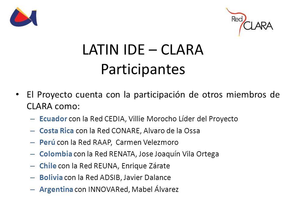 LATIN IDE – CLARA Participantes El Proyecto cuenta con la participación de otros miembros de CLARA como: – Ecuador con la Red CEDIA, Villie Morocho Lí